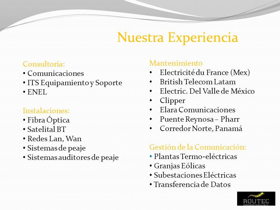 Consultoría: Comunicaciones ITS Equipamiento y Soporte ENEL Instalaciones: Fibra Óptica Satelital BT Redes Lan, Wan Sistemas de peaje Sistemas auditor