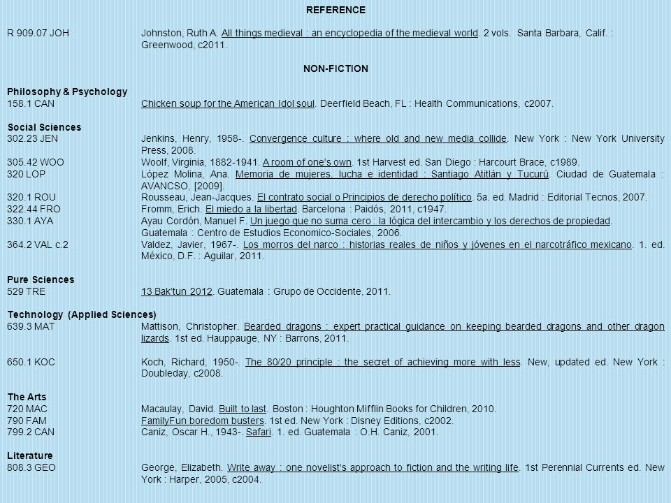 REFERENCE R 909.07 JOH Johnston, Ruth A. All things medieval : an encyclopedia of the medieval world. 2 vols. Santa Barbara, Calif. : Greenwood, c2011