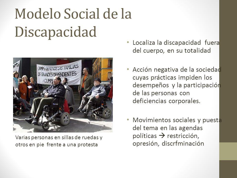 Modelo Social de la Discapacidad Localiza la discapacidad fuera del cuerpo, en su totalidad Acción negativa de la sociedad cuyas prácticas impiden los