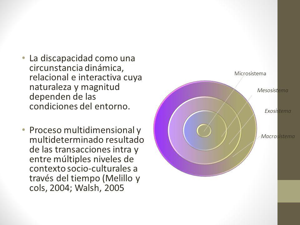 La discapacidad como una circunstancia dinámica, relacional e interactiva cuya naturaleza y magnitud dependen de las condiciones del entorno. Proceso