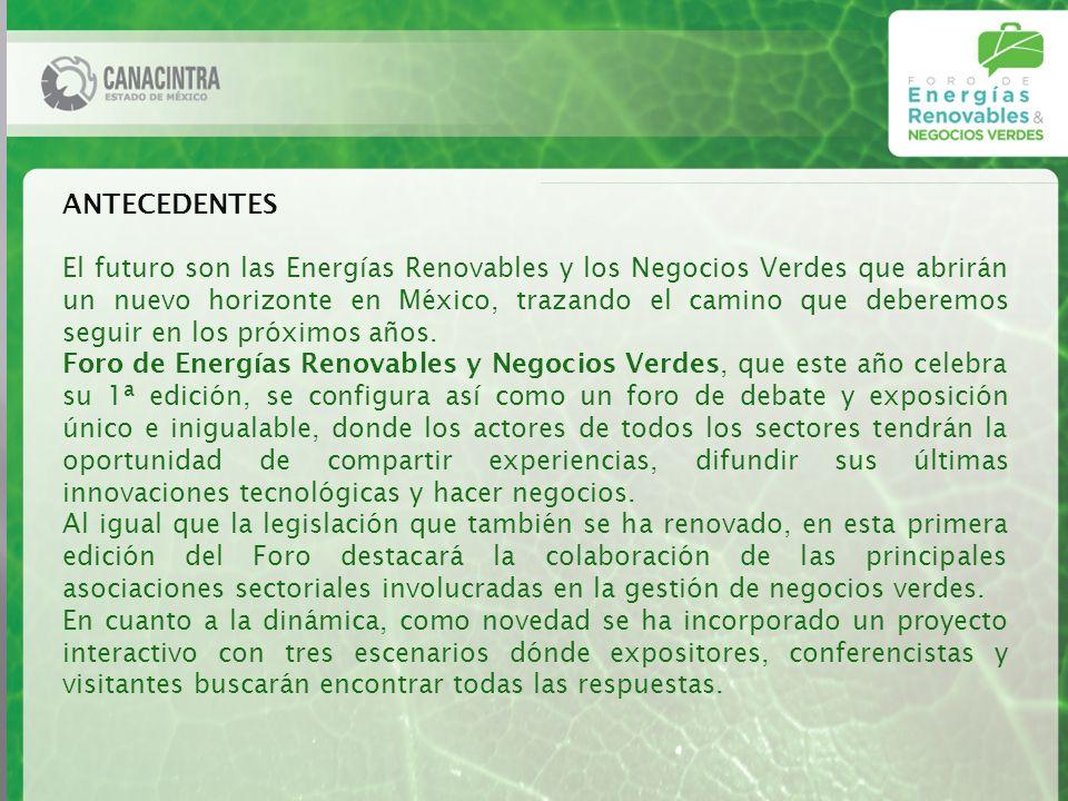 ANTECEDENTES El futuro son las Energías Renovables y los Negocios Verdes que abrirán un nuevo horizonte en México, trazando el camino que deberemos seguir en los próximos años.