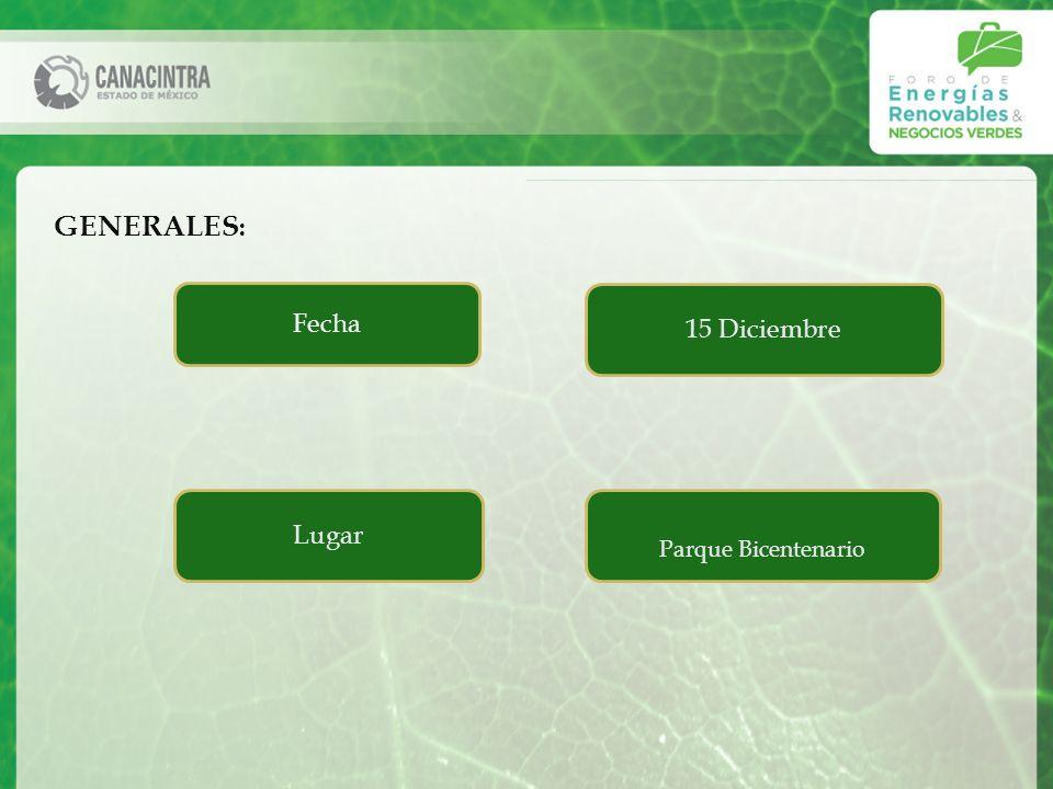 Fecha 15 Diciembre GENERALES : Lugar Parque Bicentenario