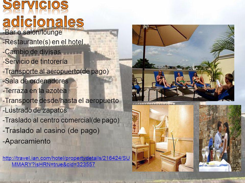 -Bar o salón/lounge -Restaurante(s) en el hotel -Cambio de divisas -Servicio de tintorería -Transporte al aeropuerto(de pago) -Sala de ordenadores -Terraza en la azotea -Transporte desde/hasta el aeropuerto -Lustrado de zapatos -Traslado al centro comercial(de pago) -Traslado al casino (de pago) -Aparcamiento http://travel.ian.com/hotel/propertydetails/216424/SU MMARY isHRN=true&cid=323557