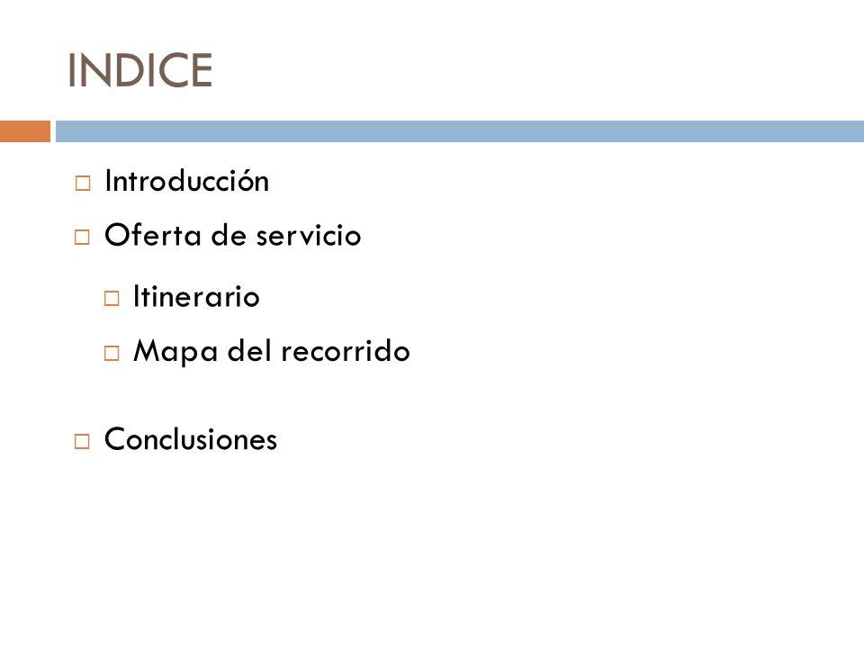 INDICE Oferta de servicio Introducción Itinerario Mapa del recorrido Conclusiones