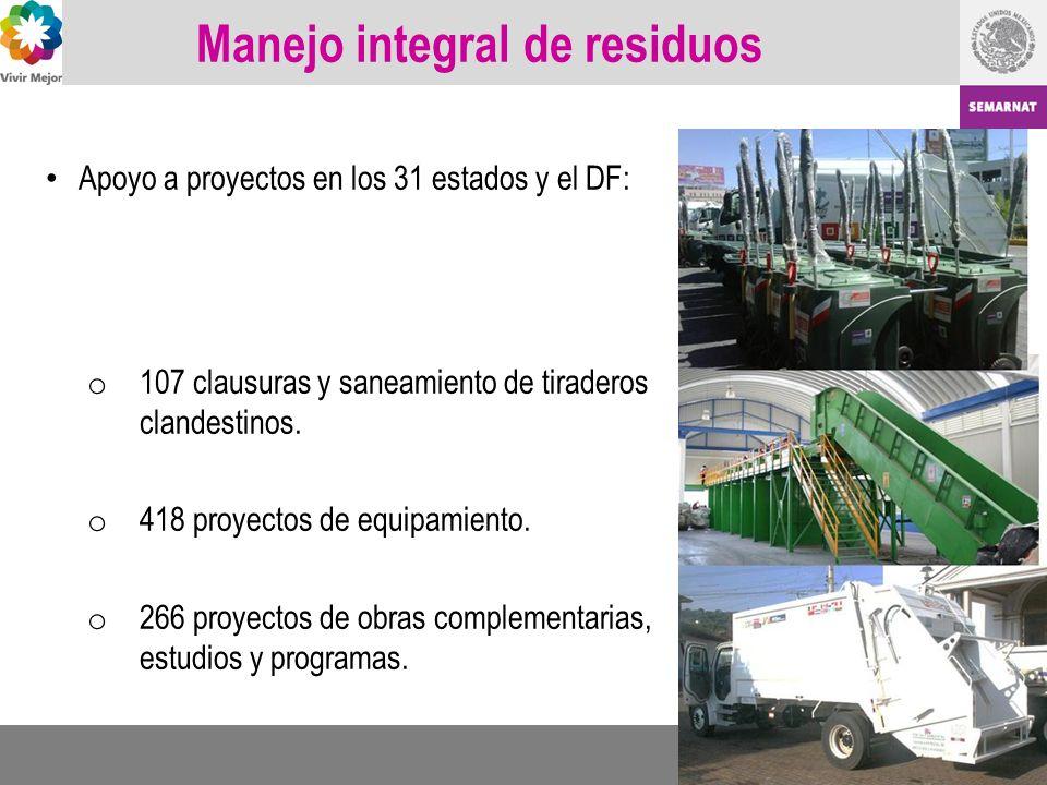 Manejo integral de residuos Apoyo a proyectos en los 31 estados y el DF: o 107 clausuras y saneamiento de tiraderos clandestinos. o 418 proyectos de e