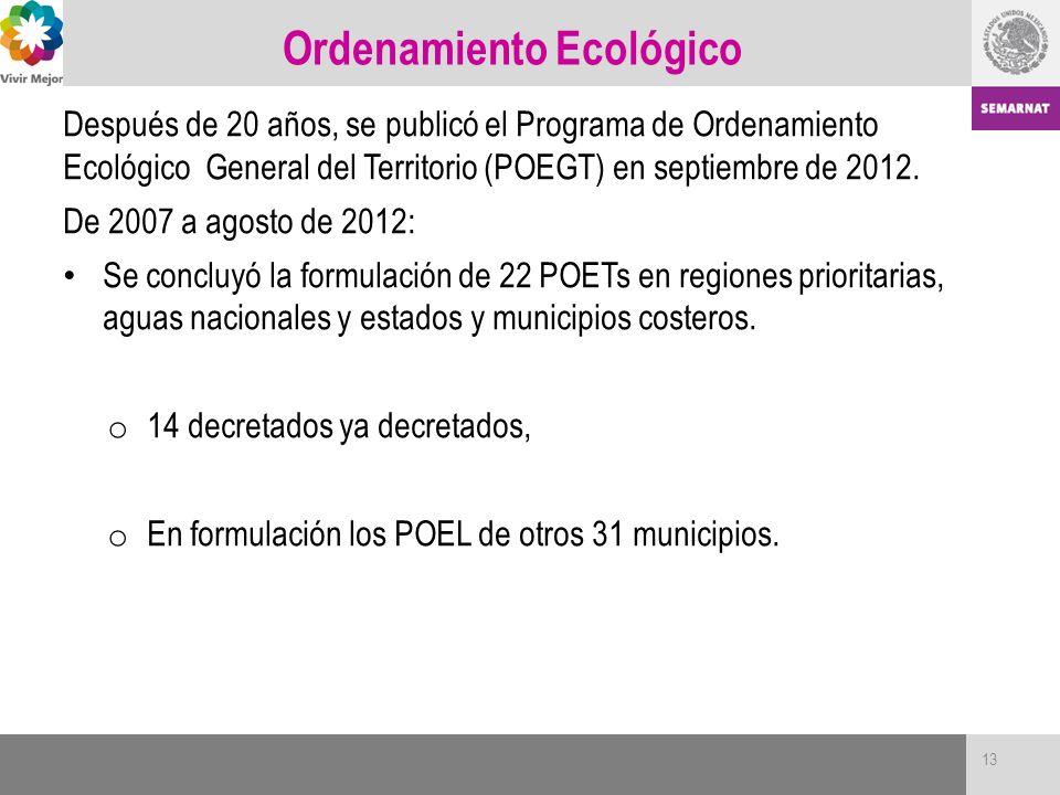 Ordenamiento Ecológico Después de 20 años, se publicó el Programa de Ordenamiento Ecológico General del Territorio (POEGT) en septiembre de 2012. De 2