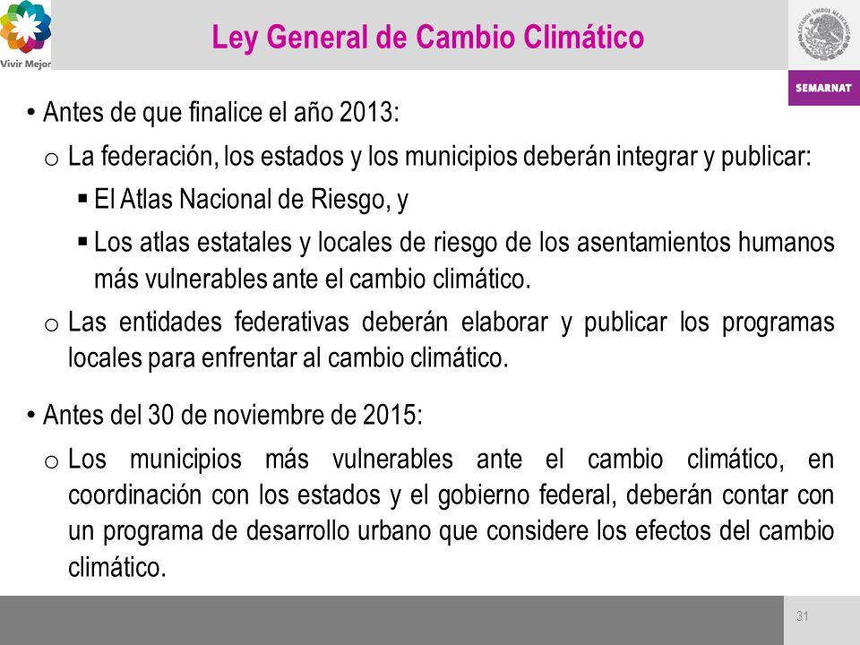 Ley General de Cambio Climático Antes de que finalice el año 2013: o La federación, los estados y los municipios deberán integrar y publicar: El Atlas
