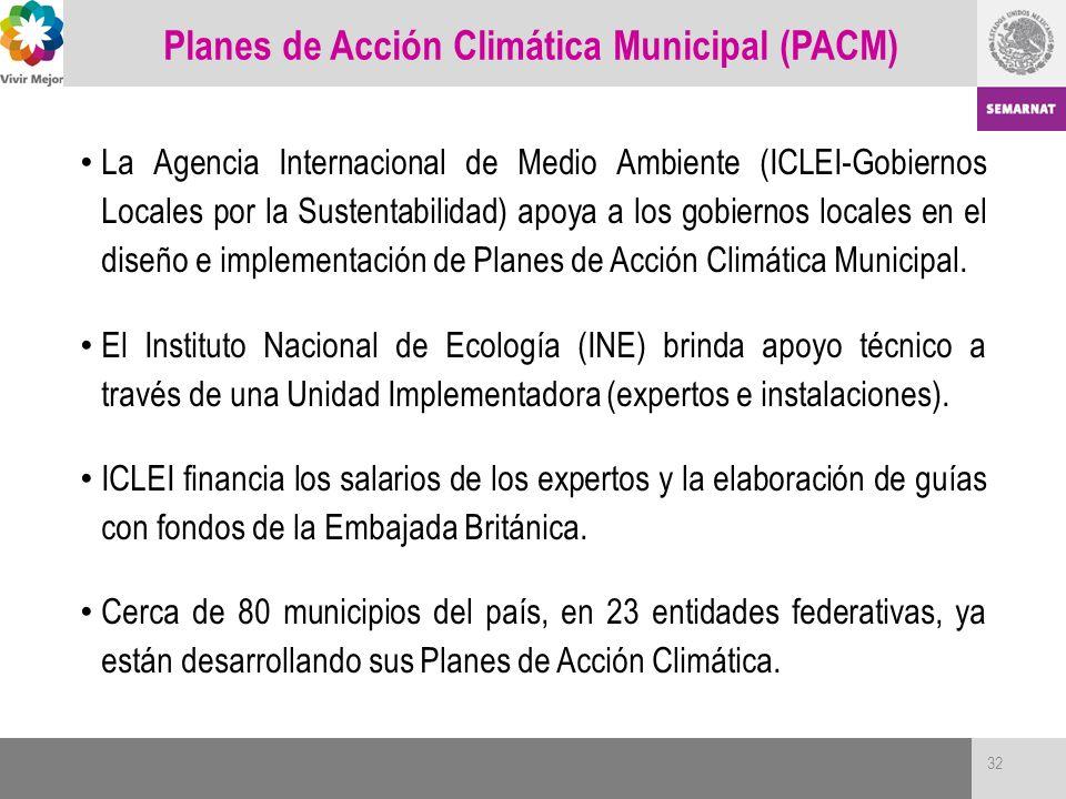 32 La Agencia Internacional de Medio Ambiente (ICLEI-Gobiernos Locales por la Sustentabilidad) apoya a los gobiernos locales en el diseño e implementa