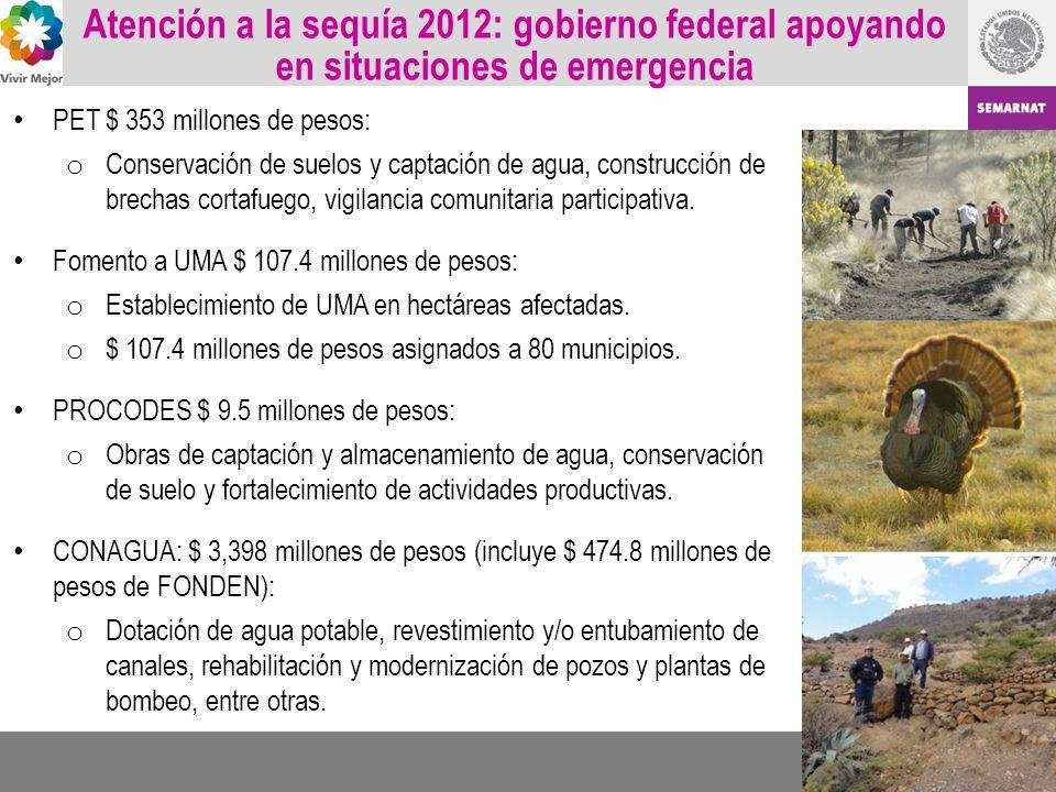 Atención a la sequía 2012: gobierno federal apoyando en situaciones de emergencia PET $ 353 millones de pesos: o Conservación de suelos y captación de