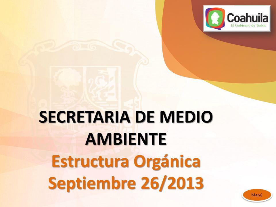 SECRETARIA DE MEDIO AMBIENTE Estructura Orgánica Septiembre 26/2013 Menú