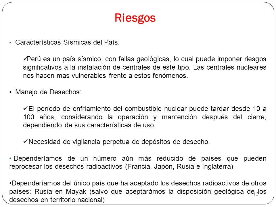 12 Riesgos Características Sísmicas del País: Perú es un país sísmico, con fallas geológicas, lo cual puede imponer riesgos significativos a la instal
