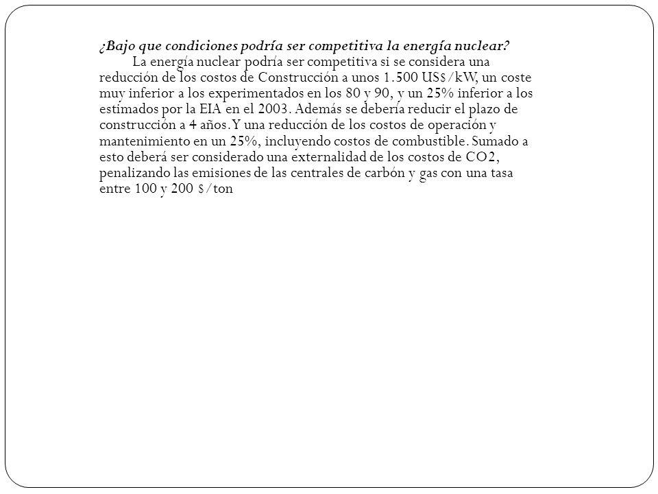 ¿Bajo que condiciones podría ser competitiva la energía nuclear? La energía nuclear podría ser competitiva si se considera una reducción de los costos