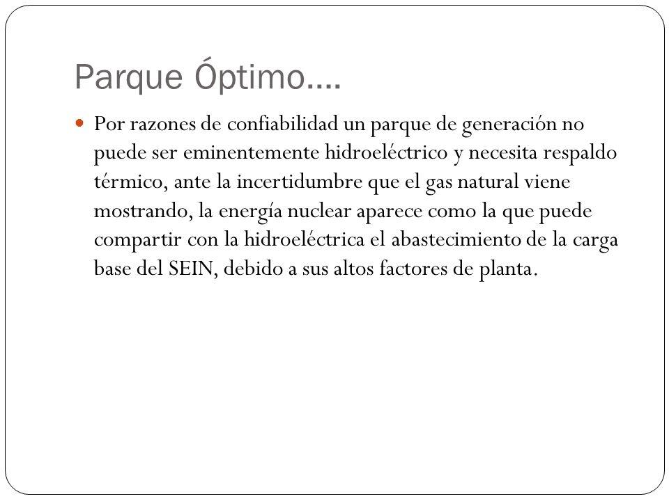 Parque Óptimo…. Por razones de confiabilidad un parque de generación no puede ser eminentemente hidroeléctrico y necesita respaldo térmico, ante la in