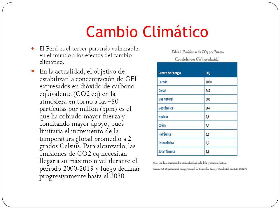 Cambio Climático El Perú es el tercer país más vulnerable en el mundo a los efectos del cambio climático. En la actualidad, el objetivo de estabilizar