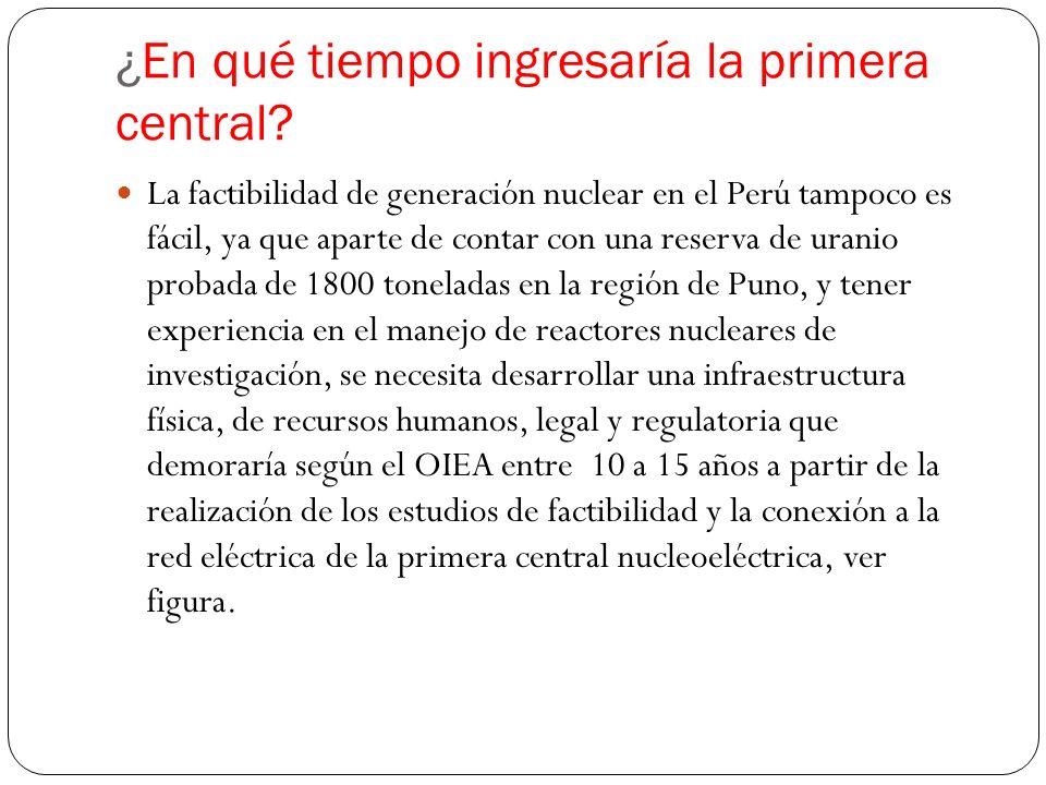 ¿En qué tiempo ingresaría la primera central? La factibilidad de generación nuclear en el Perú tampoco es fácil, ya que aparte de contar con una reser