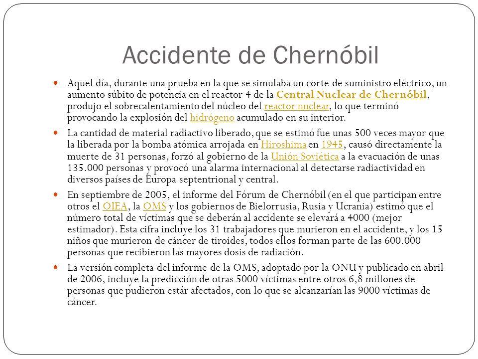 Accidente de Chernóbil Aquel día, durante una prueba en la que se simulaba un corte de suministro eléctrico, un aumento súbito de potencia en el react