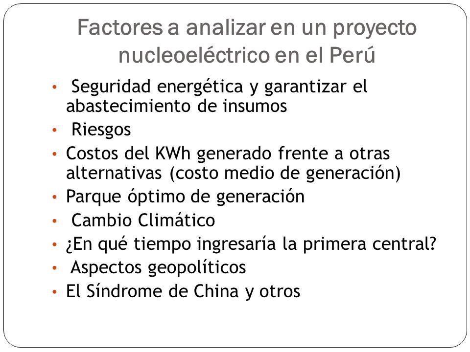 Factores a analizar en un proyecto nucleoeléctrico en el Perú Seguridad energética y garantizar el abastecimiento de insumos Riesgos Costos del KWh ge