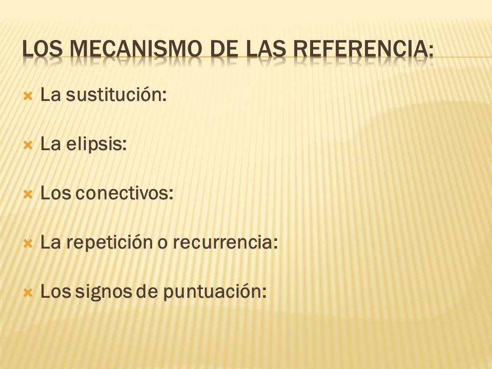 La sustitución: La elipsis: Los conectivos: La repetición o recurrencia: Los signos de puntuación: