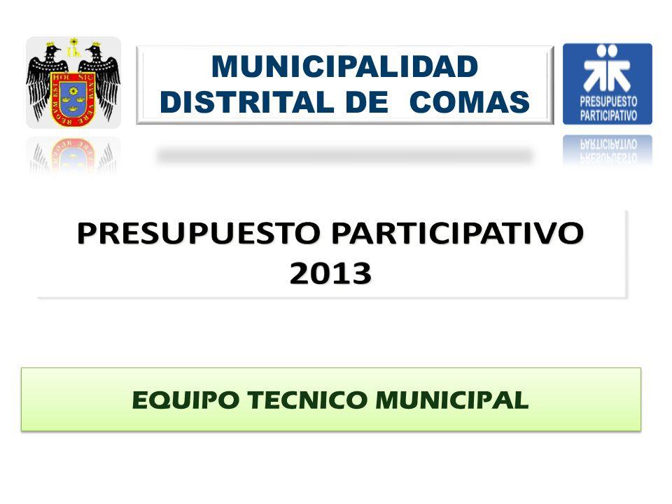 MUNICIPALIDAD DISTRITAL DE COMAS EQUIPO TECNICO MUNICIPAL