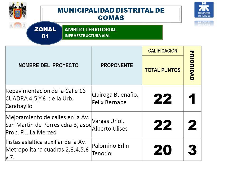 NOMBRE DEL PROYECTOPROPONENTE CALIFICACION PRIORIDAD TOTAL PUNTOS Repavimentacion de la Calle 16 CUADRA 4,5,Y 6 de la Urb. Carabayllo Quiroga Buenaño,
