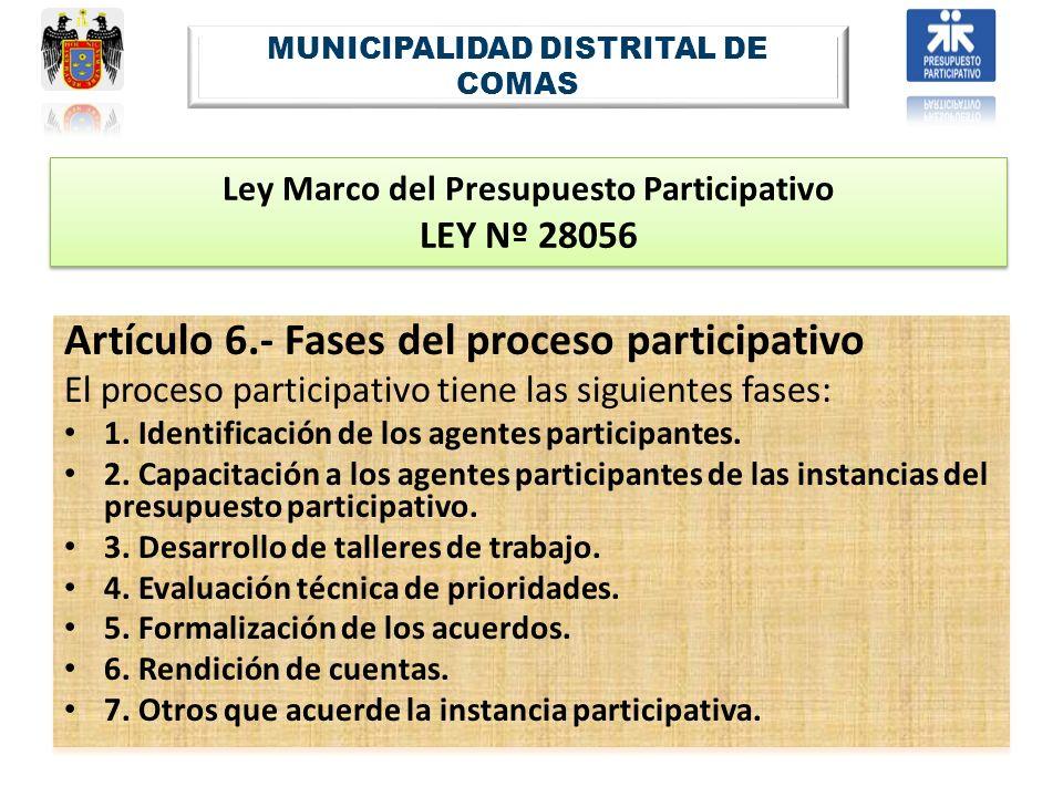 Ley Marco del Presupuesto Participativo LEY Nº 28056 Artículo 6.- Fases del proceso participativo El proceso participativo tiene las siguientes fases: