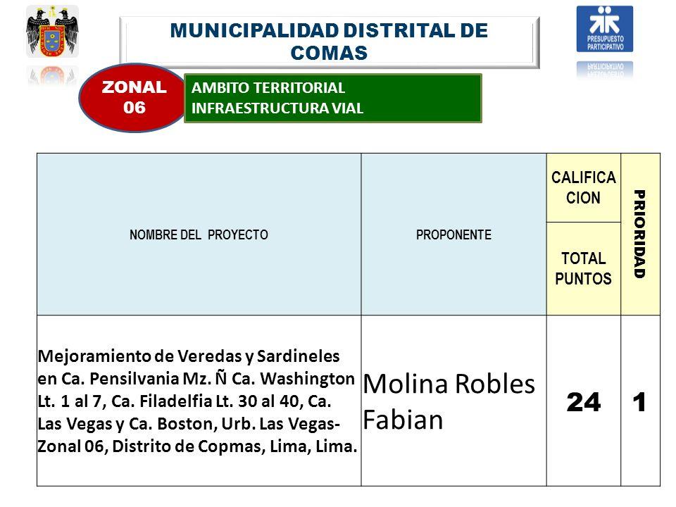 MUNICIPALIDAD DISTRITAL DE COMAS ZONAL 06 AMBITO TERRITORIAL INFRAESTRUCTURA VIAL NOMBRE DEL PROYECTOPROPONENTE CALIFICA CION PRIORIDAD TOTAL PUNTOS M
