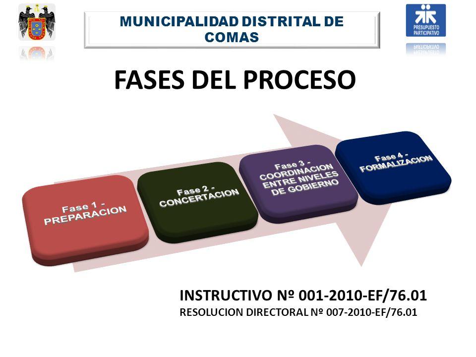 FASES DEL PROCESO MUNICIPALIDAD DISTRITAL DE COMAS INSTRUCTIVO Nº 001-2010-EF/76.01 RESOLUCION DIRECTORAL Nº 007-2010-EF/76.01