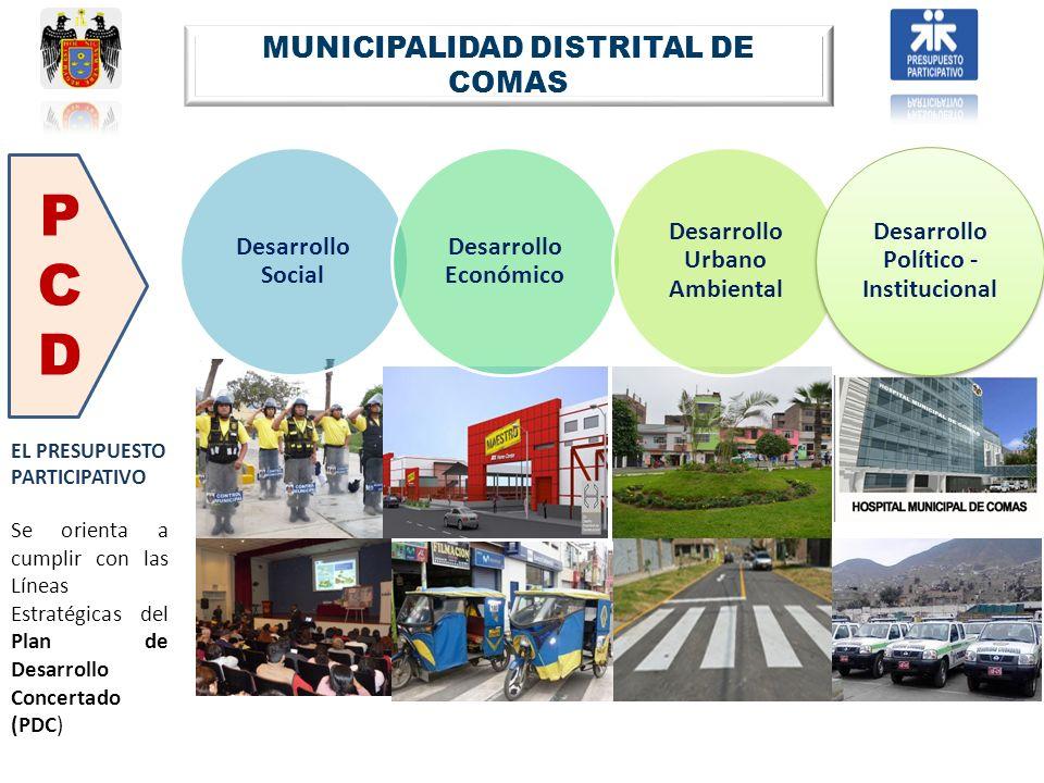 EL PRESUPUESTO PARTICIPATIVO Se orienta a cumplir con las Líneas Estratégicas del Plan de Desarrollo Concertado (PDC) MUNICIPALIDAD DISTRITAL DE COMAS