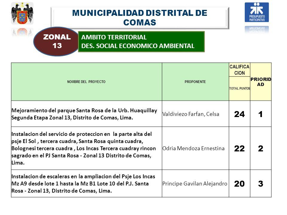 MUNICIPALIDAD DISTRITAL DE COMAS ZONAL 13 AMBITO TERRITORIAL DES. SOCIAL ECONOMICO AMBIENTAL NOMBRE DEL PROYECTOPROPONENTE CALIFICA CION PRIORID AD TO