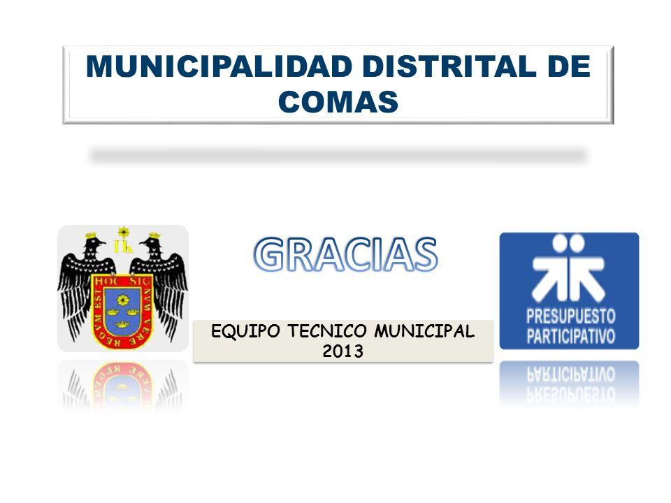 MUNICIPALIDAD DISTRITAL DE COMAS EQUIPO TECNICO MUNICIPAL 2013