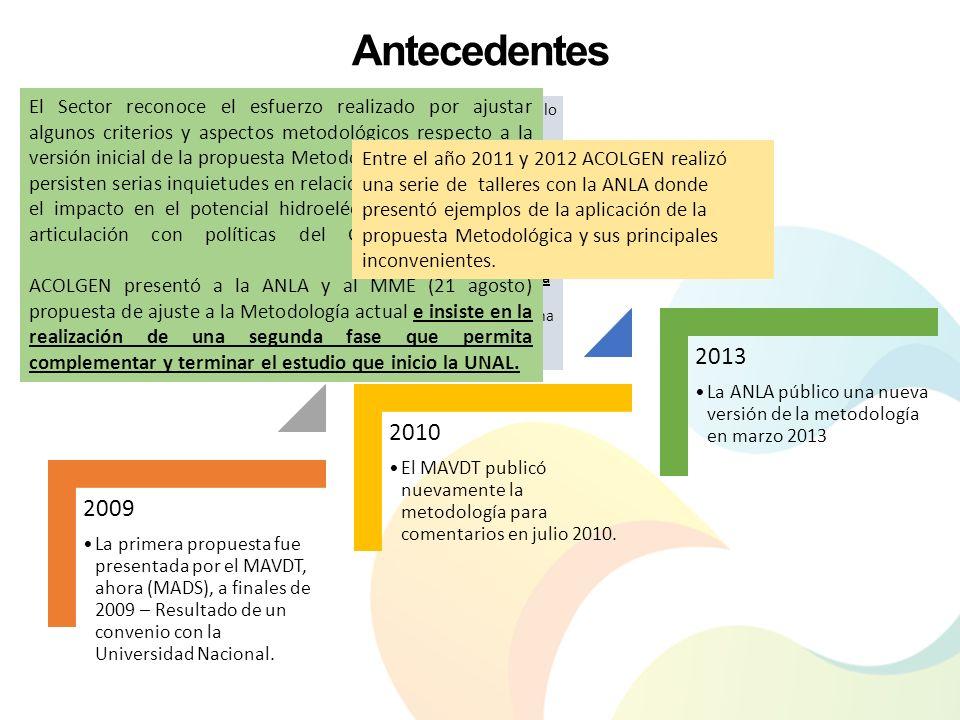 Antecedentes 2009 La primera propuesta fue presentada por el MAVDT, ahora (MADS), a finales de 2009 – Resultado de un convenio con la Universidad Naci