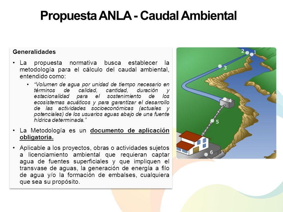 Propuesta ANLA - Caudal Ambiental Generalidades La propuesta normativa busca establecer la metodología para el cálculo del caudal ambiental, entendido