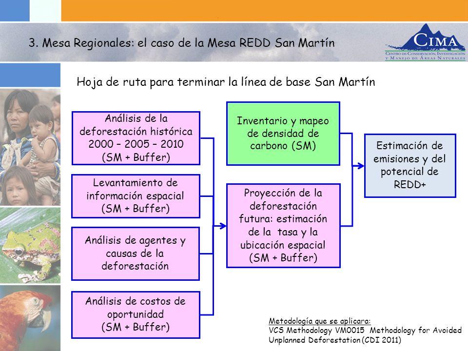 3. Mesa Regionales: el caso de la Mesa REDD San Martín Hoja de ruta para terminar la línea de base San Martín Metodología que se aplicara: VCS Methodo