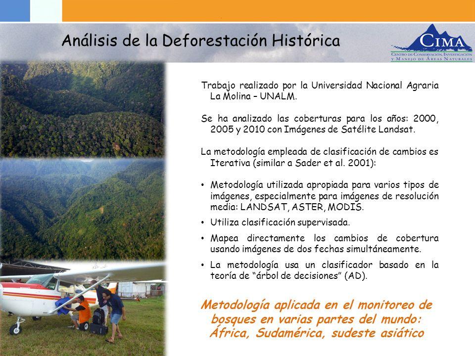 Trabajo realizado por la Universidad Nacional Agraria La Molina – UNALM. Se ha analizado las coberturas para los años: 2000, 2005 y 2010 con Imágenes