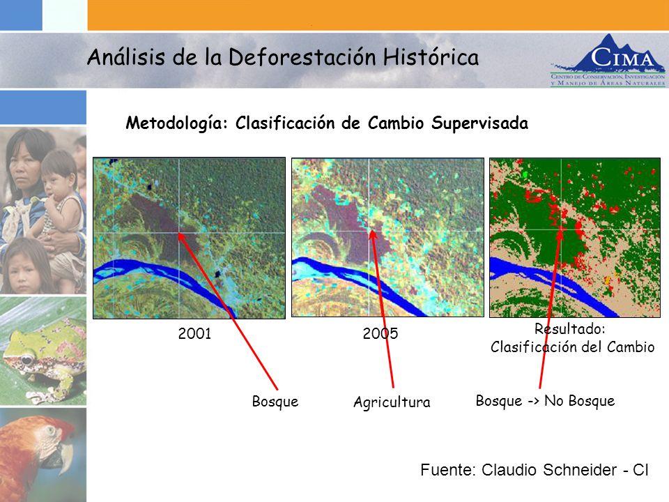 Metodología: Clasificación de Cambio Supervisada Análisis de la Deforestación Histórica Bosque Bosque -> No Bosque Agricultura 20012005 Resultado: Cla