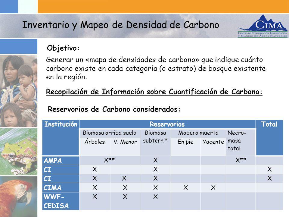 Generar un «mapa de densidades de carbono» que indique cuánto carbono existe en cada categoría (o estrato) de bosque existente en la región. Objetivo: