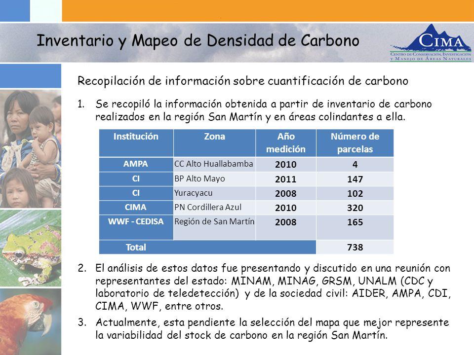 1.Se recopiló la información obtenida a partir de inventario de carbono realizados en la región San Martín y en áreas colindantes a ella. 2.El análisi