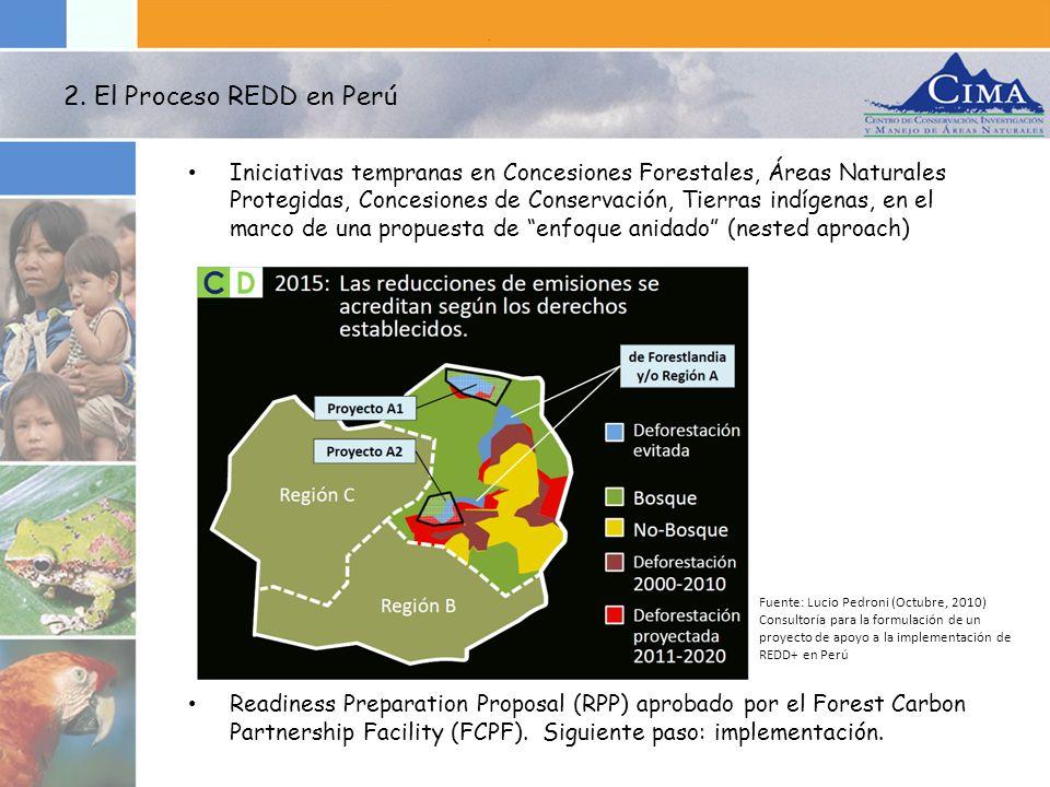 Iniciativas tempranas en Concesiones Forestales, Áreas Naturales Protegidas, Concesiones de Conservación, Tierras indígenas, en el marco de una propue
