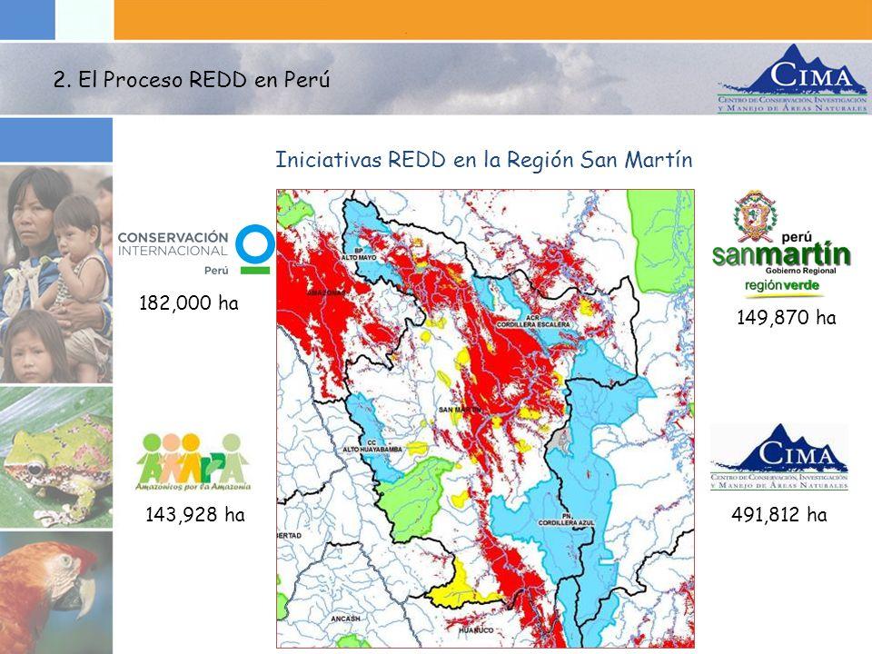 149,870 ha 182,000 ha 491,812 ha143,928 ha Iniciativas REDD en la Región San Martín 2. El Proceso REDD en Perú