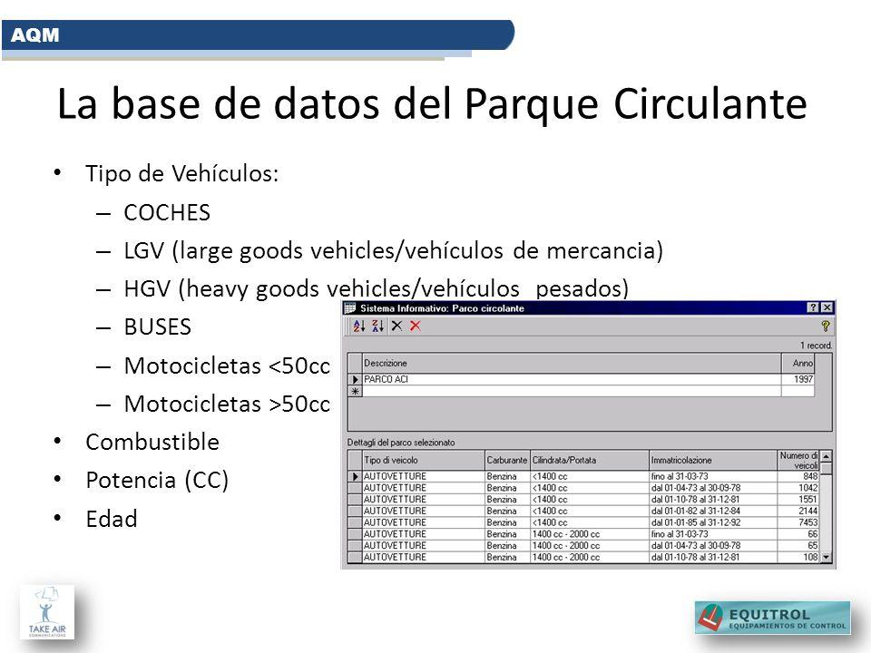 La base de datos del Parque Circulante Tipo de Vehículos: – COCHES – LGV (large goods vehicles/vehículos de mercancia) – HGV (heavy goods vehicles/veh