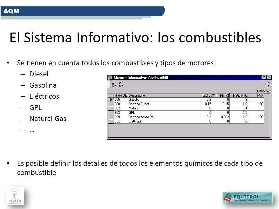 El Sistema Informativo: los combustibles Se tienen en cuenta todos los combustibles y tipos de motores: – Diesel – Gasolina – Eléctricos – GPL – Natur