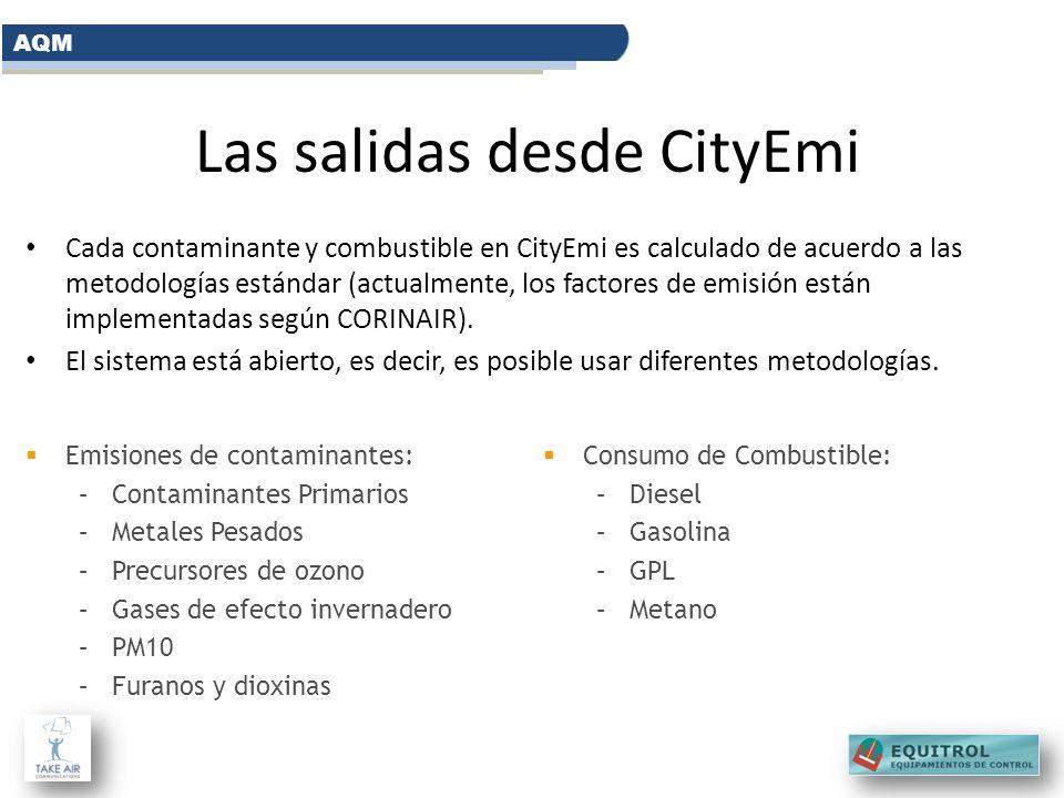 Las salidas desde CityEmi Cada contaminante y combustible en CityEmi es calculado de acuerdo a las metodologías estándar (actualmente, los factores de