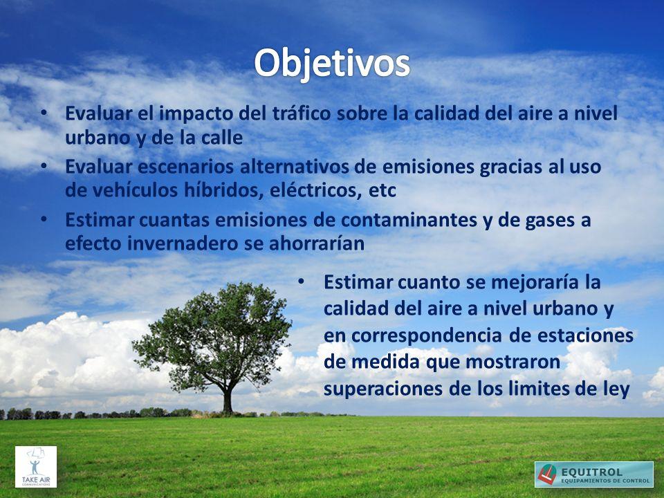 Evaluar el impacto del tráfico sobre la calidad del aire a nivel urbano y de la calle Evaluar escenarios alternativos de emisiones gracias al uso de v