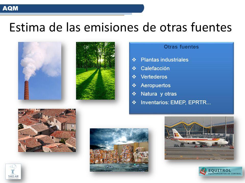 Estima de las emisiones de otras fuentes AQM Otras fuentes Plantas industriales Calefacción Vertederos Aeropuertos Natura y otras Inventarios: EMEP, E