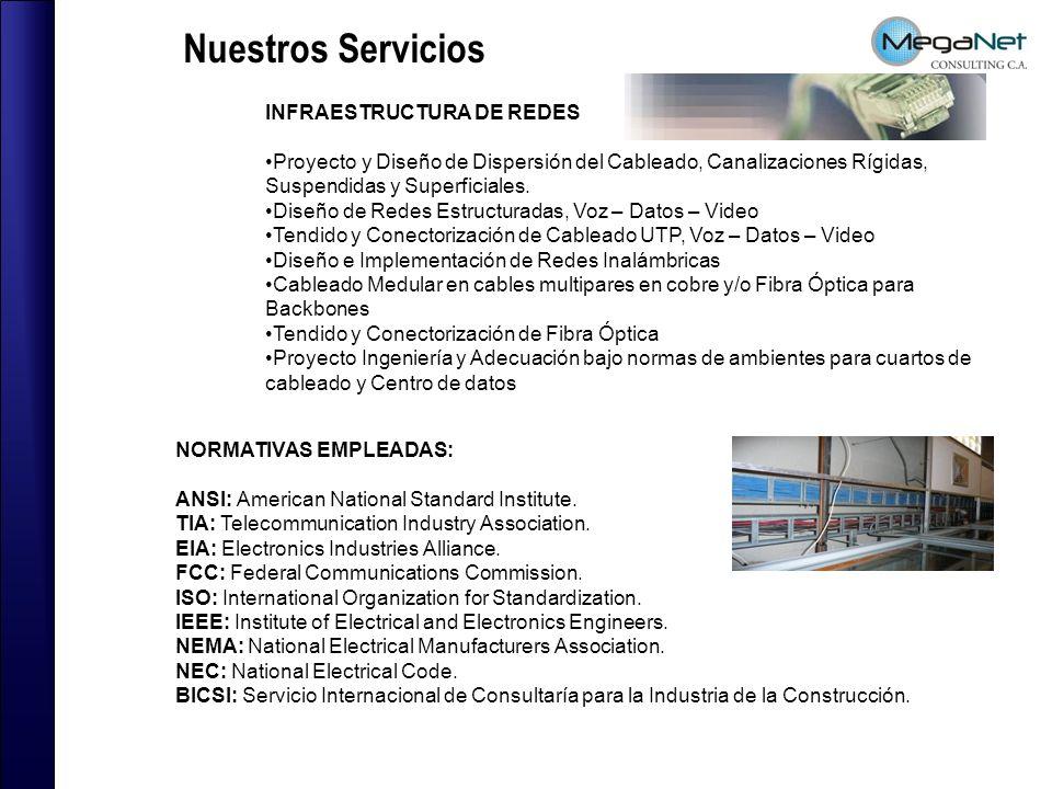 Nuestros Servicios INFRAESTRUCTURA DE REDES Proyecto y Diseño de Dispersión del Cableado, Canalizaciones Rígidas, Suspendidas y Superficiales.
