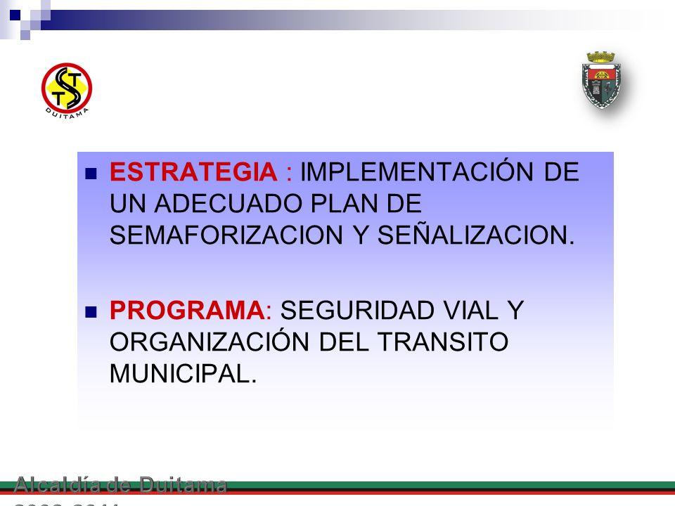 ESTRATEGIA : IMPLEMENTACIÓN DE UN ADECUADO PLAN DE SEMAFORIZACION Y SEÑALIZACION. PROGRAMA: SEGURIDAD VIAL Y ORGANIZACIÓN DEL TRANSITO MUNICIPAL.