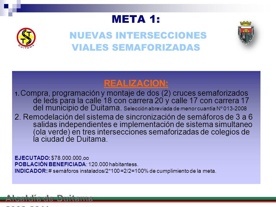 META 1: NUEVAS INTERSECCIONES VIALES SEMAFORIZADAS REALIZACION: 1. Compra, programación y montaje de dos (2) cruces semaforizados de leds para la call