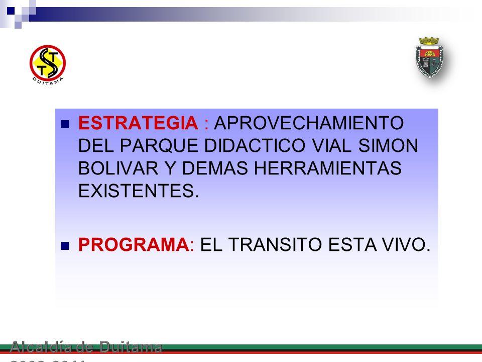 ESTRATEGIA : APROVECHAMIENTO DEL PARQUE DIDACTICO VIAL SIMON BOLIVAR Y DEMAS HERRAMIENTAS EXISTENTES. PROGRAMA: EL TRANSITO ESTA VIVO.