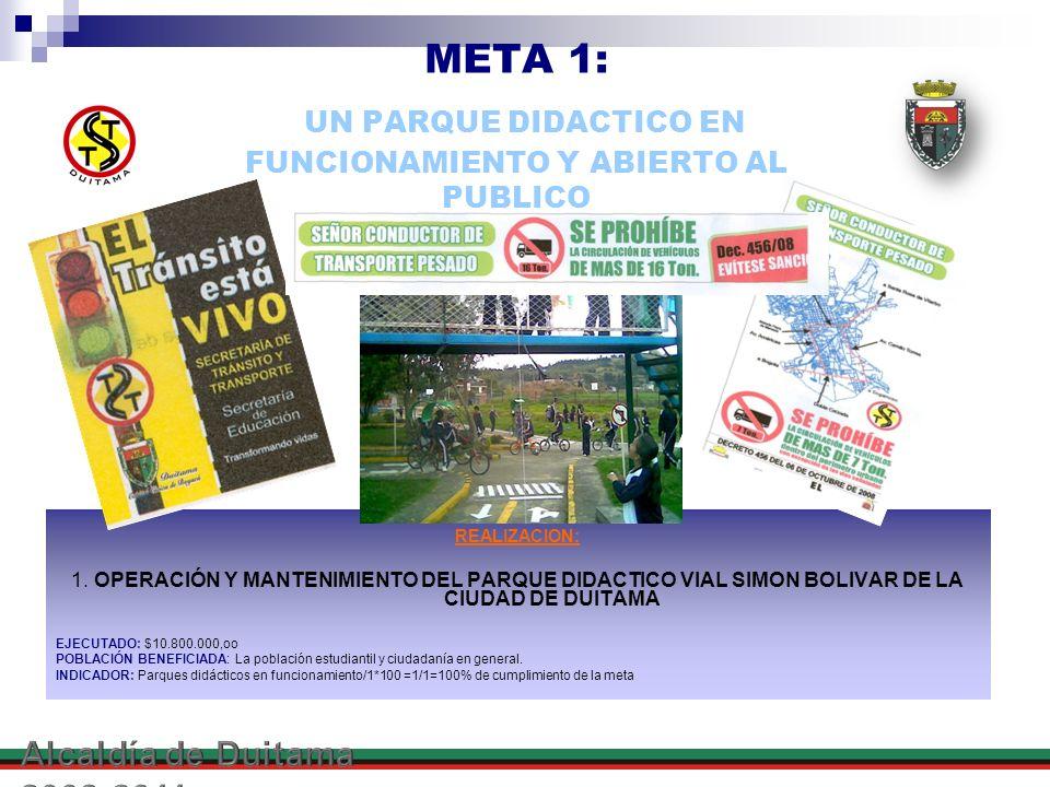 META 1: UN PARQUE DIDACTICO EN FUNCIONAMIENTO Y ABIERTO AL PUBLICO REALIZACION: 1. OPERACIÓN Y MANTENIMIENTO DEL PARQUE DIDACTICO VIAL SIMON BOLIVAR D