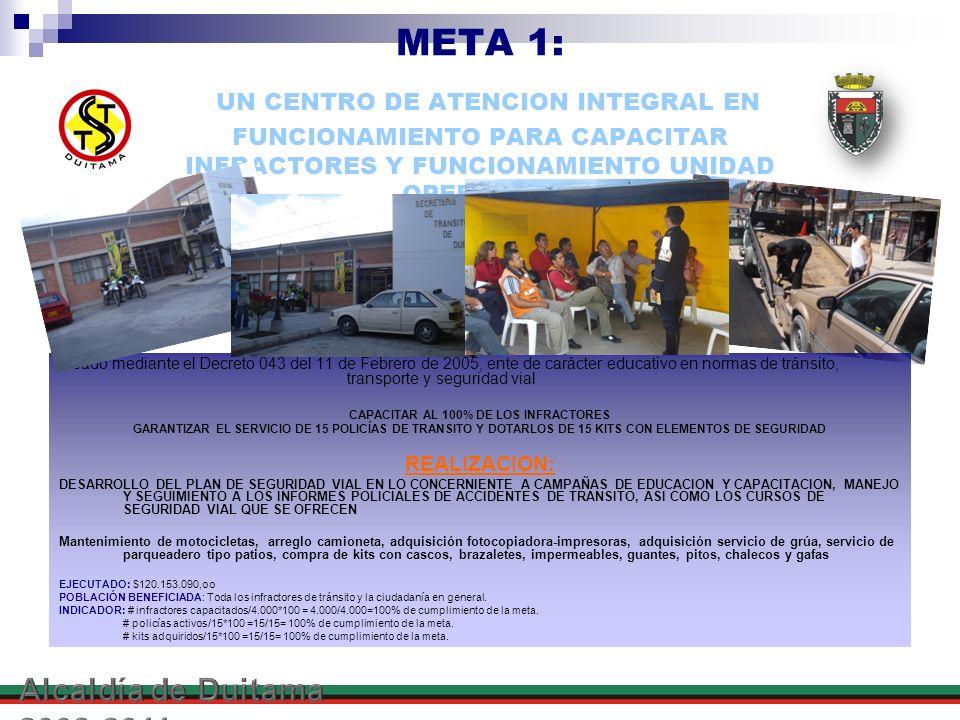META 1: UN CENTRO DE ATENCION INTEGRAL EN FUNCIONAMIENTO PARA CAPACITAR INFRACTORES Y FUNCIONAMIENTO UNIDAD OPERATIVA creado mediante el Decreto 043 d